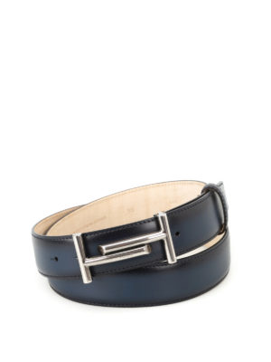 Tod'S: belts - Shaded blue leather belt