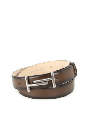 Tod'S: belts - Shaded dark brown leather belt