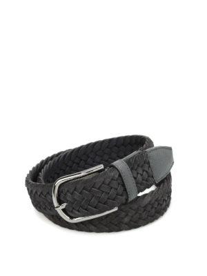 Tod'S: belts - Woven suede belt