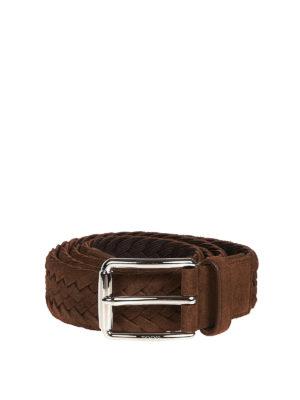 TOD'S: cinture - Cintura intrecciata in camoscio