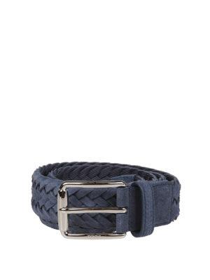 5ae7cc9000 TOD'S: cinture - Cintura intrecciata in pelle scamosciata blu