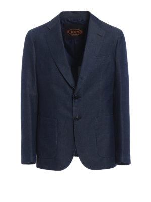 Tod'S: blazers - Washed denim unstructured blazer