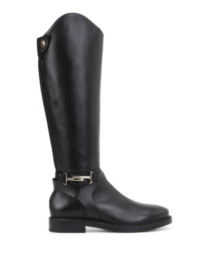 Tod'S: boots - Double T black leather boots