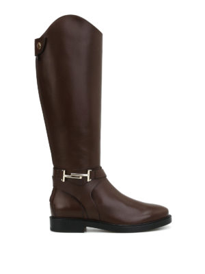 Tod'S: boots - Double T brown leather boots