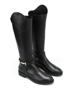 Tod'S: boots online - Double T black leather boots
