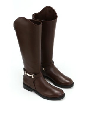 Tod'S: boots online - Double T brown leather boots