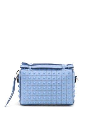 Tod'S: bowling bags - Don Gommini blue mini bowling bag
