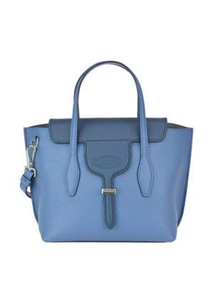 TOD'S: bauletti - Borsa mini Joy in pelle a grana di due blu