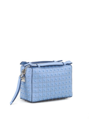Tod'S: bowling bags online - Don Gommini blue mini bowling bag