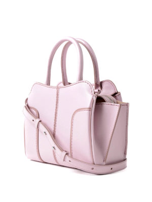 Tod'S: bowling bags online - Sella Mini pink leather handbag