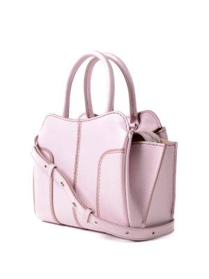 Tod'S: bowling bags online - Sella Mini pink leather handbag