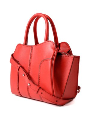 Tod'S: bowling bags online - Sella Mini red leather handbag