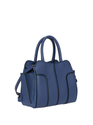 Tod'S: bowling bags online - Sella top zip blue leather mini bag