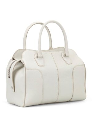 Tod'S: bowling bags online - White hammered leather bowling bag