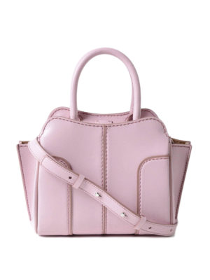 Tod'S: bowling bags - Sella Mini pink leather handbag