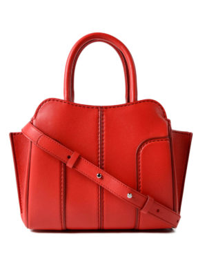 Tod'S: bowling bags - Sella Mini red leather handbag