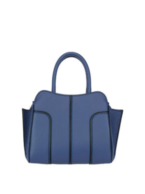 Tod'S: bowling bags - Sella top zip blue leather mini bag