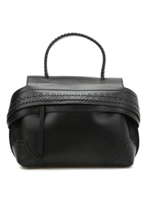 Tod'S: bowling bags - Small Wave Bag with woven handle