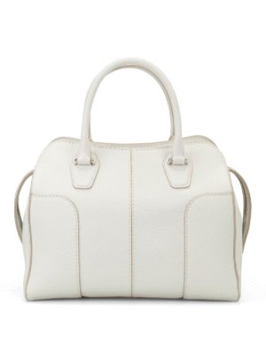 Tod'S: bowling bags - White hammered leather bowling bag