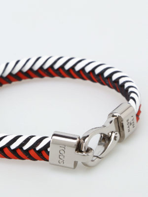 Tod'S: Bracelets & Bangles online - Red and white leather bracelet