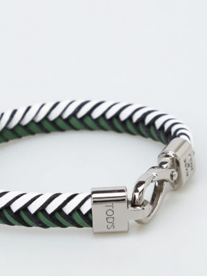 Tod'S: Bracelets & Bangles online - Woven two-tone leather bracelet