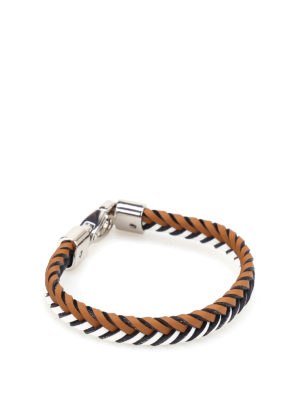Tod'S: Bracelets & Bangles - Two-tone woven leather bracelet