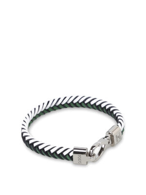 Tod'S: Bracelets & Bangles - Woven two-tone leather bracelet