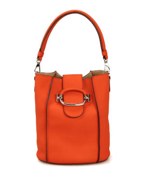 TOD'S: Bucket bags - Double T small leather bucket bag