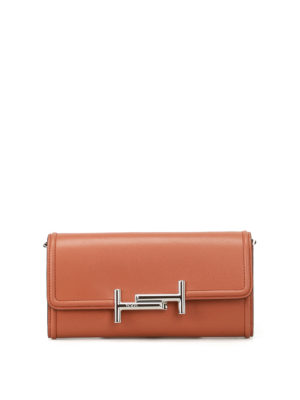 Tod'S: clutches - Brown leather wallet clutch