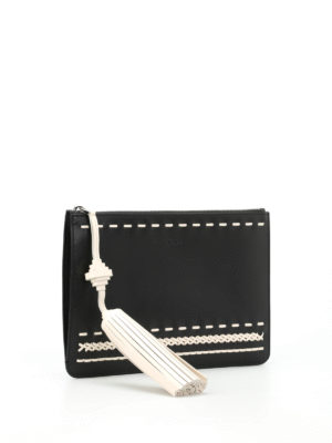 Tod'S: clutches online - Woven details leather clutch