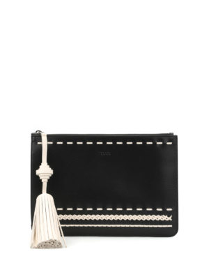 Tod'S: clutches - Woven details leather clutch