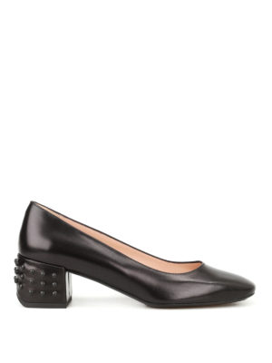 Tod'S: court shoes - Bevelled heel black leather pumps