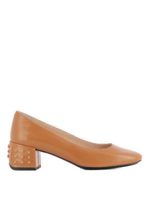 TOD'S: scarpe décolleté - Décolleté in pelle e gommini