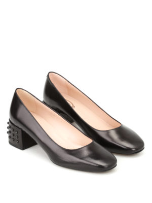 Tod'S: court shoes online - Bevelled heel black leather pumps