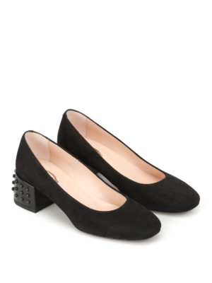 Tod'S: court shoes online - Structured heel black suede pumps