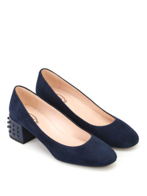 Tod'S: court shoes online - Structured heel blue suede pumps