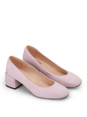 Tod'S: court shoes online - Structured heel pink suede pumps