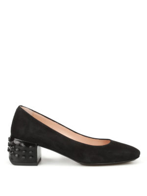Tod'S: court shoes - Structured heel black suede pumps