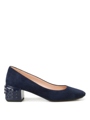 Tod'S: court shoes - Structured heel blue suede pumps