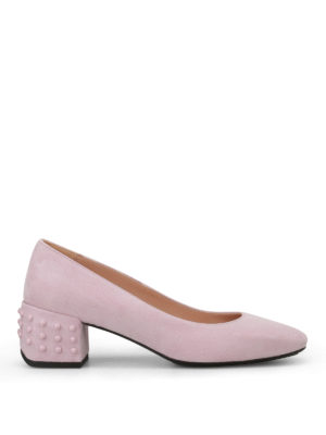 Tod'S: court shoes - Structured heel pink suede pumps
