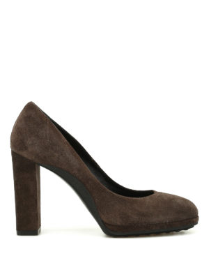Tod'S: court shoes - Suede pumps with rubber sole