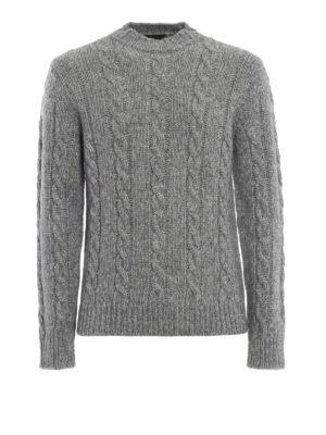 TOD'S: maglia collo rotondo - Girocollo in misto cotone lana e alpaca