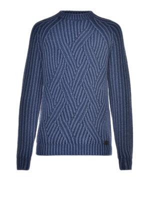 Tod'S: crew necks - Macro cable rib knit blue sweater
