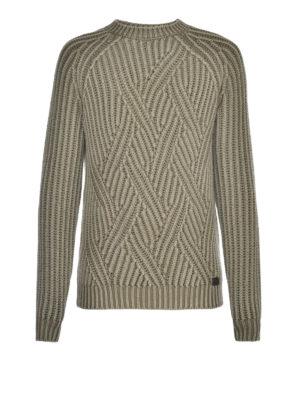 Tod'S: crew necks - Macro cable rib knit olive sweater