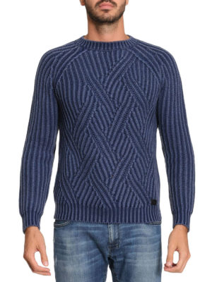 Tod'S: crew necks online - Macro cable rib knit blue sweater
