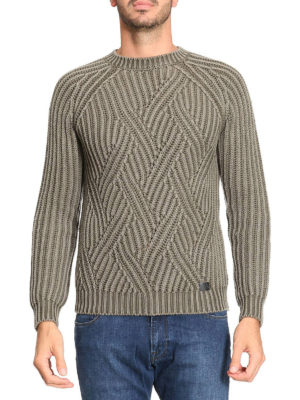 Tod'S: crew necks online - Macro cable rib knit olive sweater