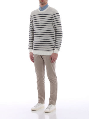 Tod'S: crew necks online - Striped cotton and linen crewneck