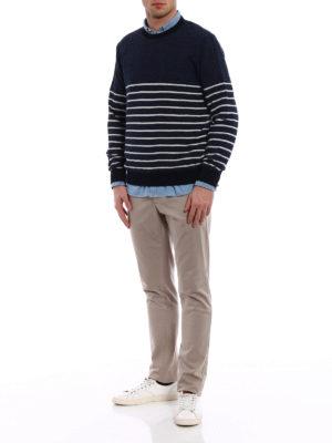 Tod'S: crew necks online - Striped cotton linen blend sweater