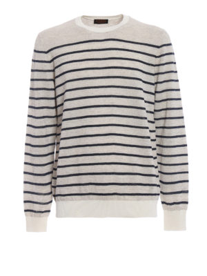 Tod'S: crew necks - Striped cotton and linen crewneck