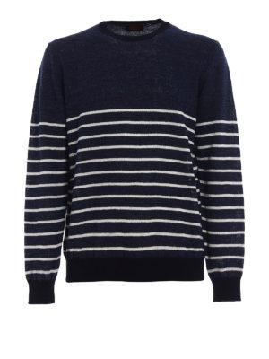 Tod'S: crew necks - Striped cotton linen blend sweater